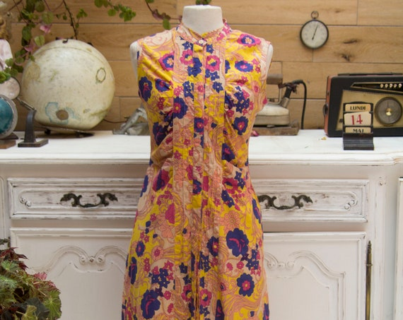 Vintage Style Colorful Cotton Dress Size 40