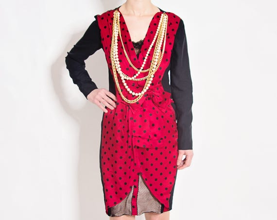 Vintage SIlk Red Polka Dot Dress by Mochino Couture