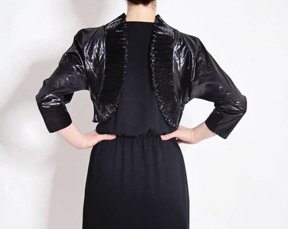 Vintage 1980's Black Shiny Dress by Oliver James
