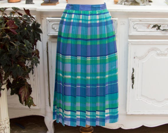 Vintage 1970's Blue Tones Handmade Pleated Skirt