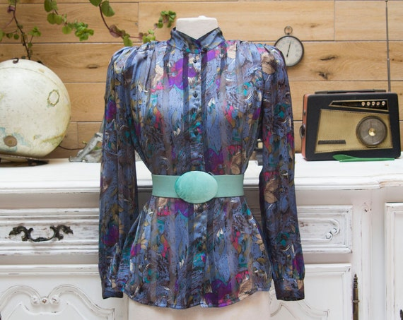 Vintage Sheer Blouse with Padded Shoulders Size 40