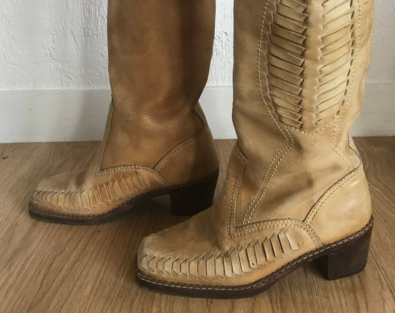 Vintage Leather Boots in Camel Size 40FR