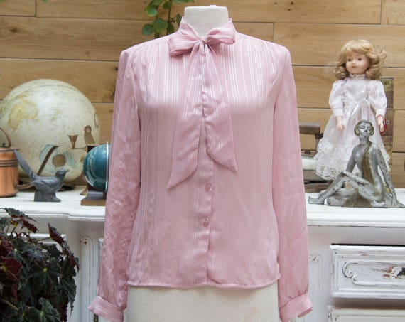 Vintage Powder Rose Bow Tie Blouse