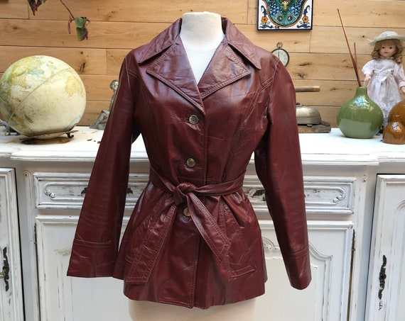 Vintage 1970's Burgundy Leather Jacket Size US12