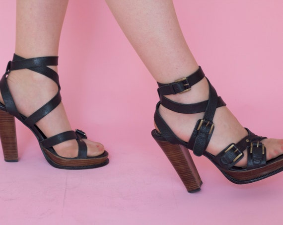 Vintage High Heels Strap Leather Sandals by Barbara Bui Size 39