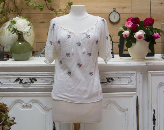 Vintage Hand Embroidery Sheer Top Size S/M