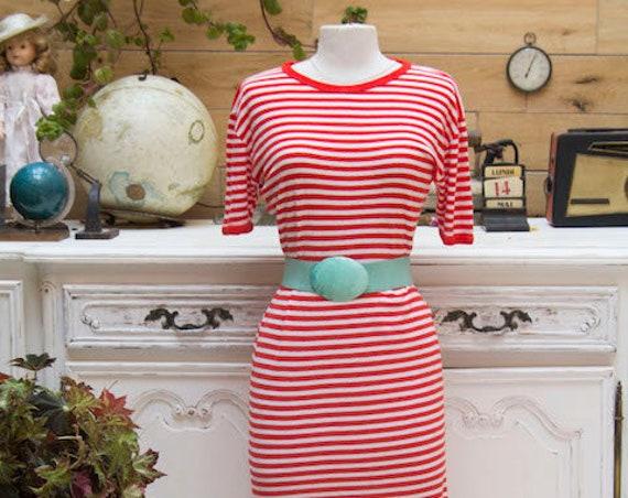 Vintage Red and White Stripe Cotton Midi Dress