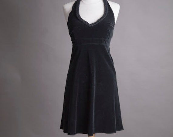 Black Short Vintage Velvet Dress Size Small