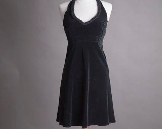 Black Short Vintage Velvet Dress Size Small