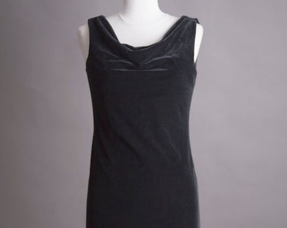Asymmetric Black Velvet Dress Size Small/Medium