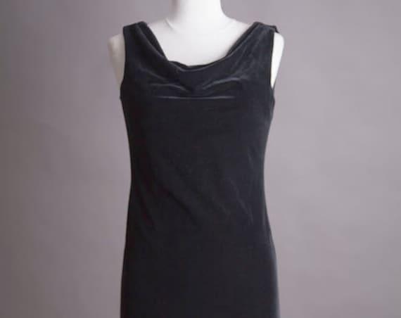 Asymmetric Black Velvet Dress Size Small/Medium