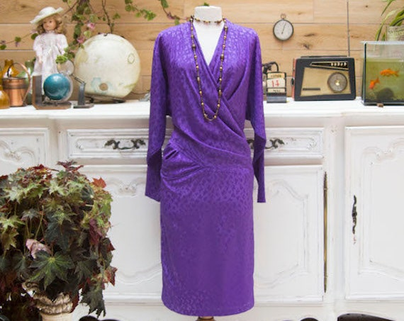 Vintage 1970's Electric Purple Dress by Sandra Pabst Size 36/Small