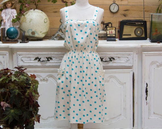 Vintage Style White and Turquoise Polka Dot Dress Size Medium