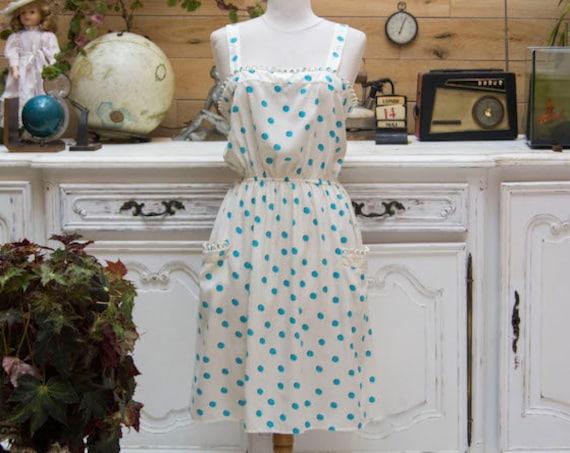 Vintage Style White and Turquoise Polka Dot Dress Size Medium
