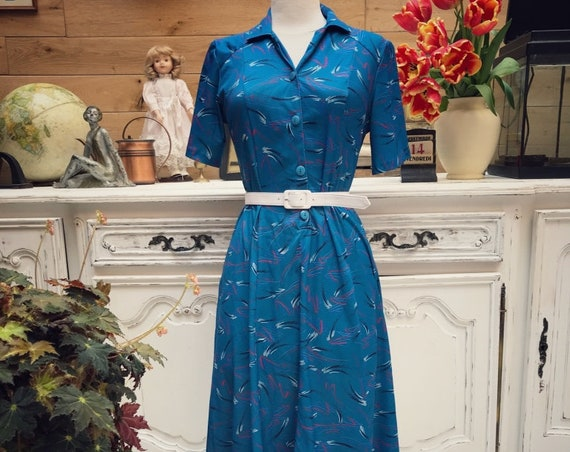 Vintage Summer Blue Dress Size S/M