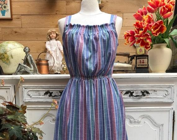 Vintage Summer Stripe Dress Size 42/Medium