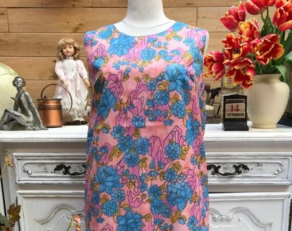 Vintage Flower Pastel Dress Size Large