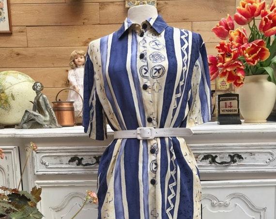 Vintage Royal Blue Long Shirt Size Medium