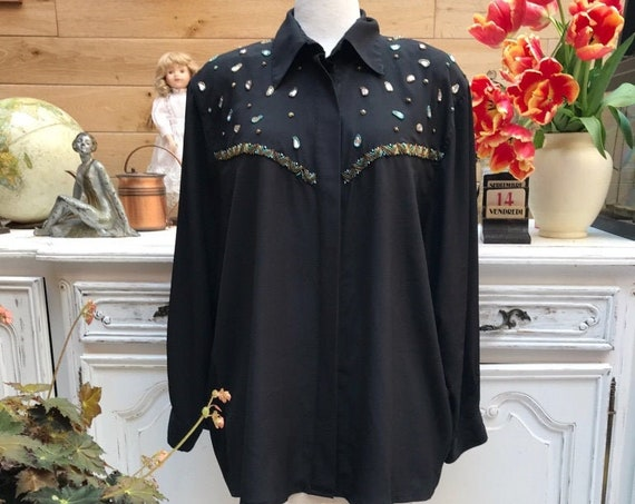 Black Vintage Blouse with Crystals Size X-Large