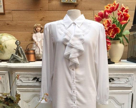 Vintage Long White Blouse with Ruffles