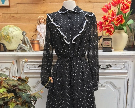 Vintage Black and White Polka Dot Dress Size XL