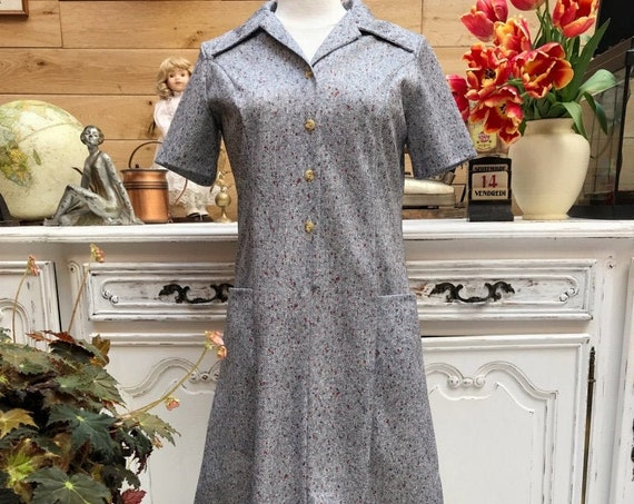 Vintage 1970's Short Grey Dress Size 40FR