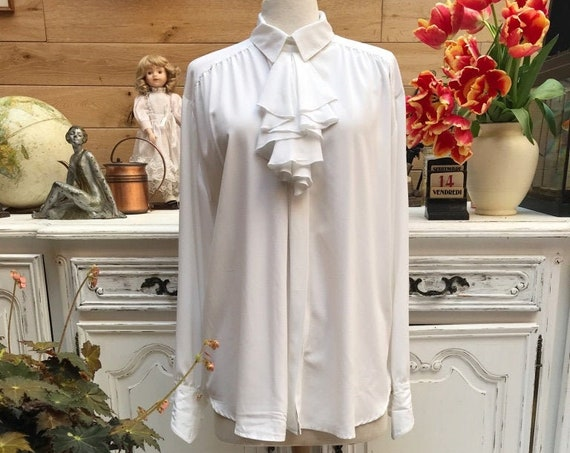 Vintage Long White Blouse with Ruffles Size X-Large