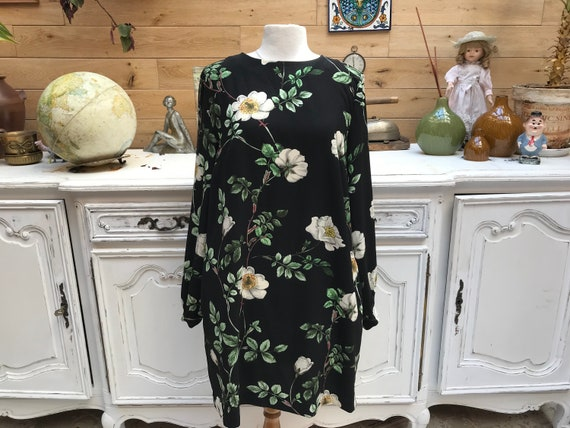 Black Mini Dress with Flowers Size Medium