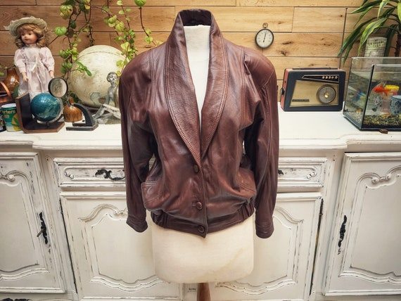 Vintage Brown Leather Jacket Size Small