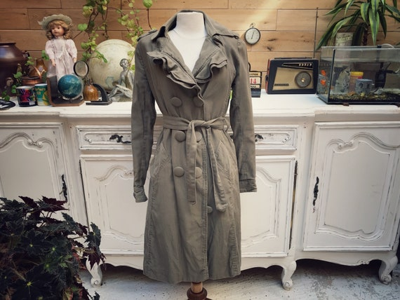 Vintage Olive Cotton Trench Coat Size Small/38