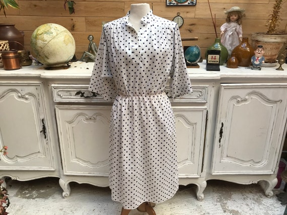 Vintage White Polka Dot Dress by Fred Lansac Neuilly Size Medium