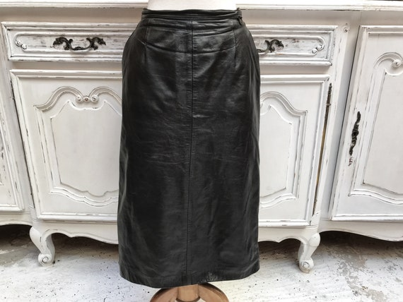 Vintage Black Leather Pencil Skirt with Pockets Size 44