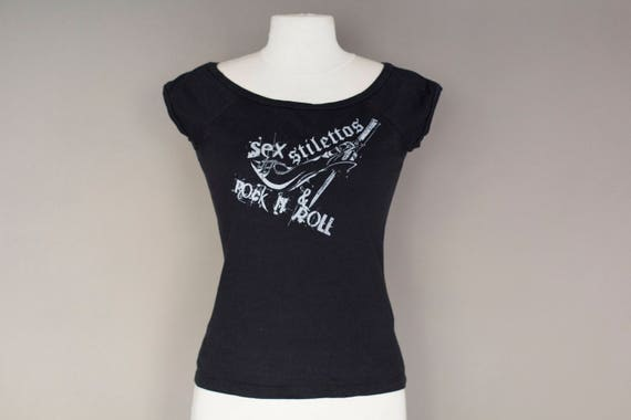 Sex Stilettos Rock n'Roll Black Cotton T-shirt