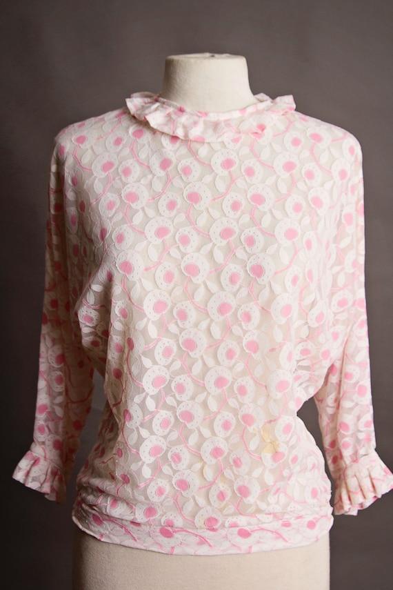 Vintage Transparent White & Pink Blouse