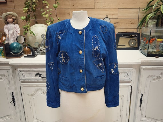 Electric Blue Vintage Leather Jacket by Dino'z Size 40