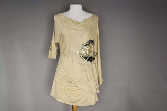 Gold Asymmetric Tunic/Dress with Leaf Design