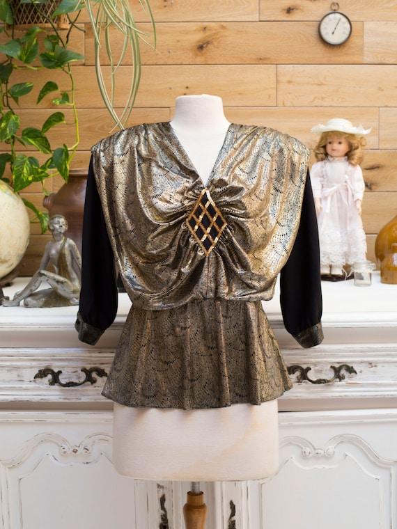Vintage 1980s Shiny Gold Top by Salia Size 38