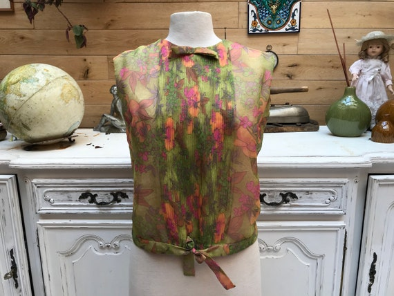 Vintage Summer Pastel Top Size 44/Large