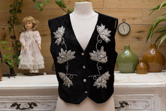 Vintage Velvet Vest with Pearls