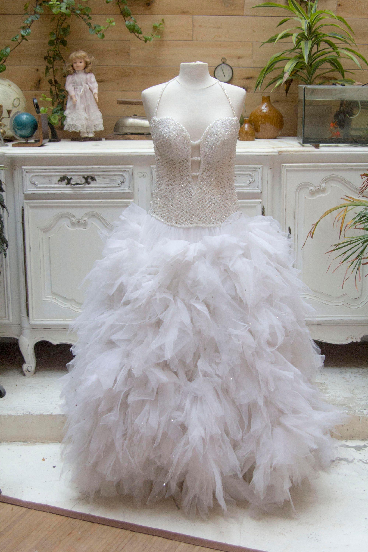Vintage 1990s Swarovski Crystal Wedding Dress