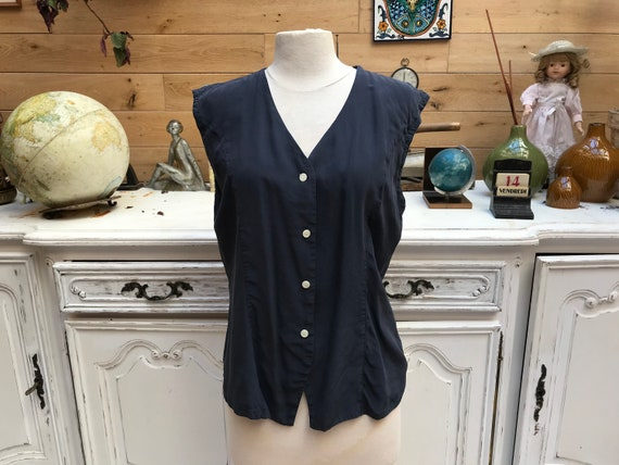 Vintage Sleeveless Silk Navy Top Size Large