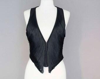 Short Black Vest with Fringes