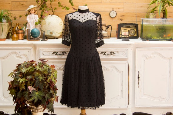 Vintage Black Polka Dot Dress Size Small