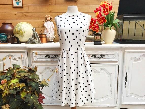 Vintage White Polka Dot Dress Size M/L