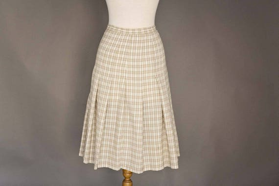 Vintage Handmade Pleated Beige Checkered Skirt
