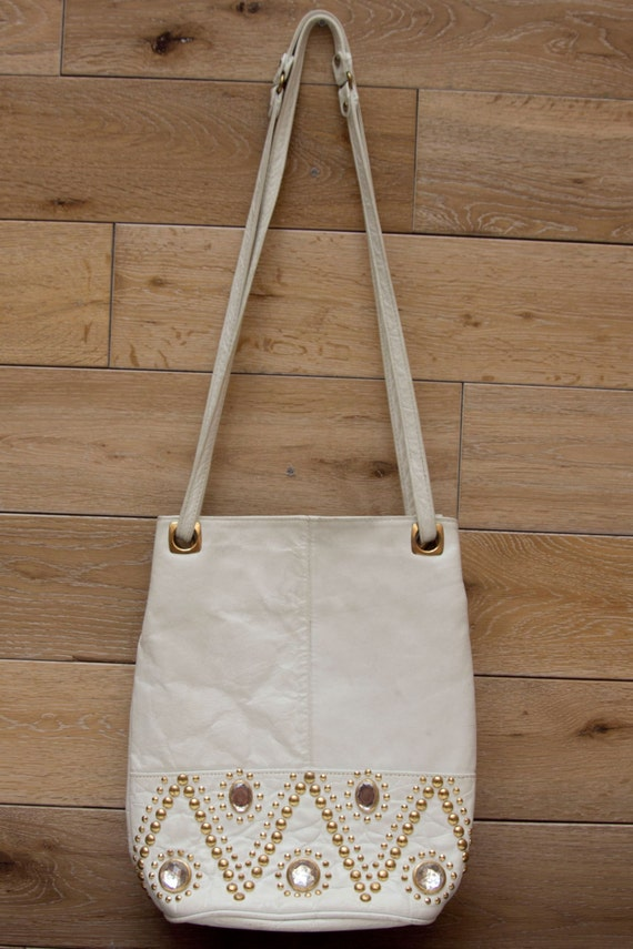 Vintage 1980's Genuine Leather White Bag with Crystals and Studs