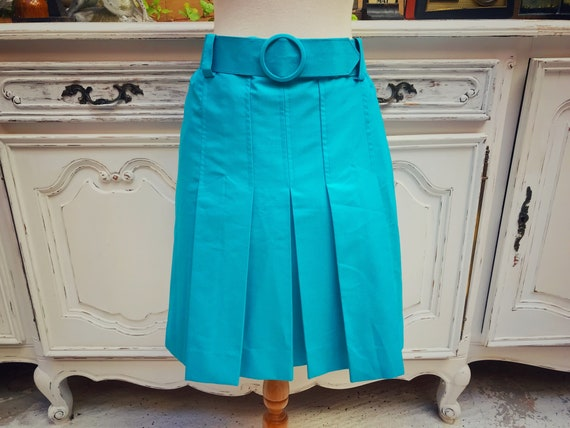 Vintage Sky Blue Short Pleated Skirt Size Small