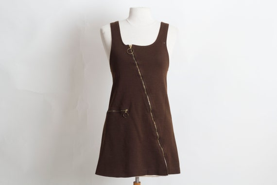 Vintage Sleeveless Brown Mini Skirt Size Small