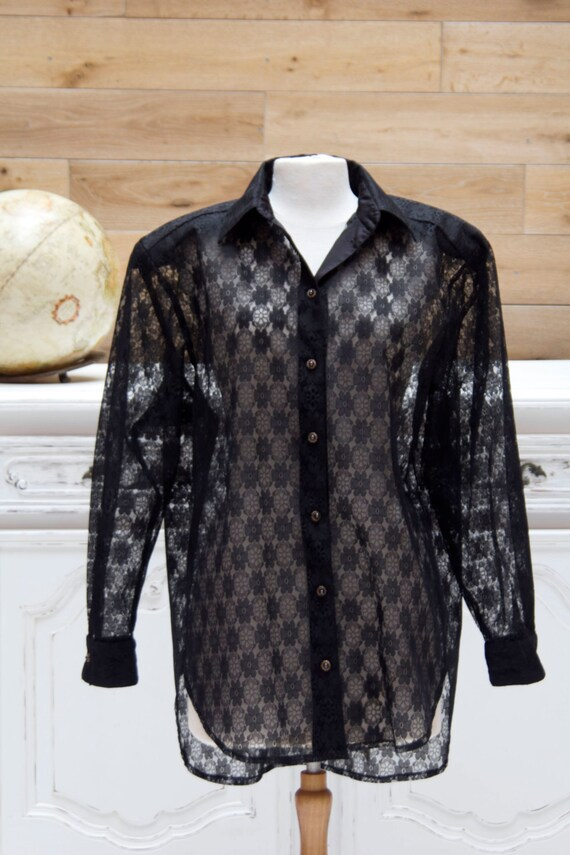 Oversized Black Vintage Transparent Lace Top