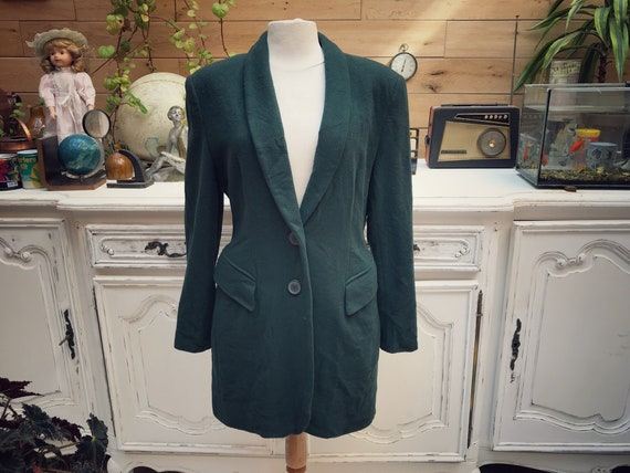 Vintage Bottle Green Long Cashmere Wool Jacket Size 38/Small